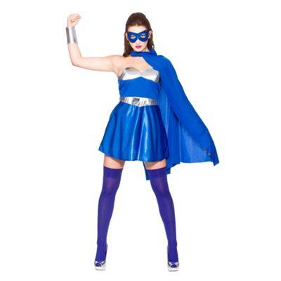 Wicked Women's Fancy Dress Blue & Silver Hot Super Hero Costume -Small