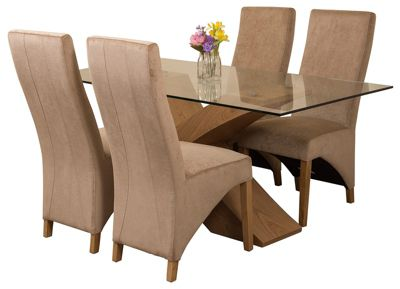 Valencia Small Oak 160cm Modern Glass Dining Set Table and 4 Beige Fabric Chairs