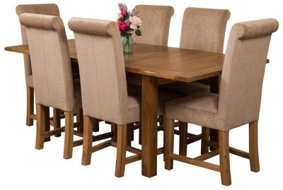 Cotswold Rustic Extending Solid Oak Dining Set Table & 6 Beige Fabric Chairs