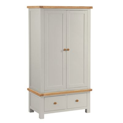 Daymer Grey Painted Double Wardrobe With Drawers
