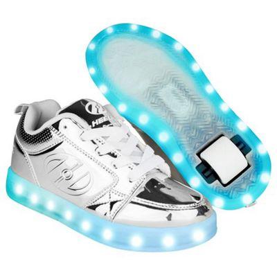 Heelys Premium 1 Lo Silver Chrome Kids Heely Shoe JNR 13