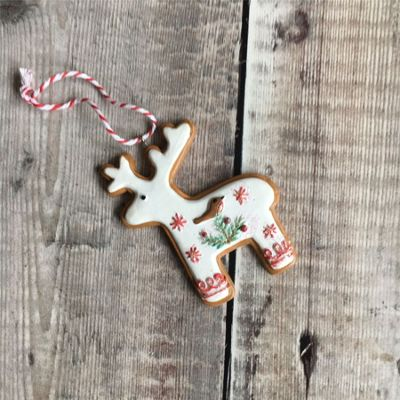 Iced Gingerbread Reindeer Decoration