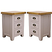 Arklow - Pair Of Painted Oak Bedside Tables / Grey 3 Drawer Bedside Units