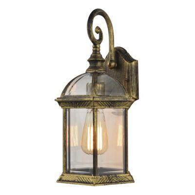 Litecraft Ankor 1 Bulb Outdoor Distressed Effect Wall Lantern, Antique Brass