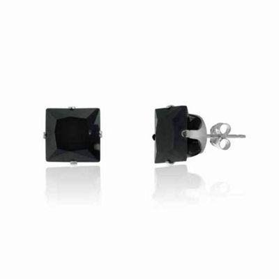 Urban Male Sterling Silver 9mm Black Square CZ Stud Earrings For Men