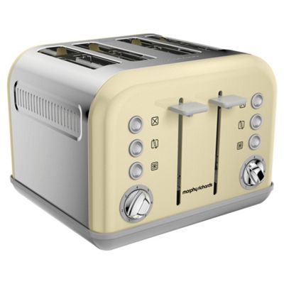 Morphy Richards 242033 Accents 4 Slice Toaster with 1880W and Removable Crumb Tray in Cream