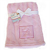 First Steps Pink Embroidered Fleece baby Blanket 75x100cm