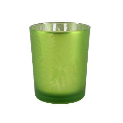 Small Green Glass Tea light Holder