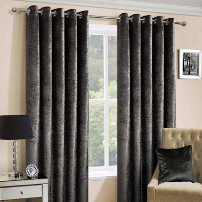 Dark Grey Luxury Crushed Velvet Lined Eyelet Curtain Pair, 66 x 54