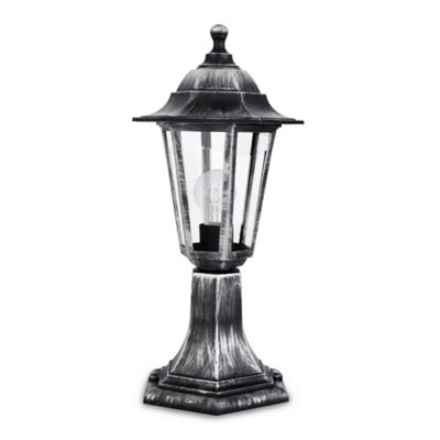 Traditional PI44 Outdoor Post Top Lantern Light in Brushed Silver and Black