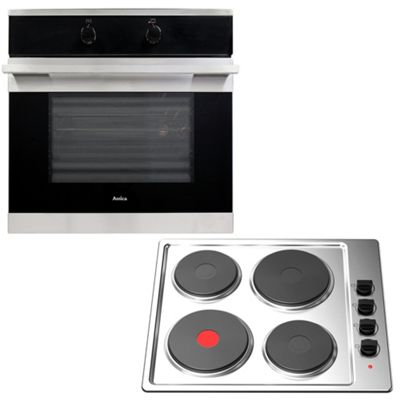Amica 60cm Single Electric Fan Oven & Cookology Stainless Steel Hob Pack
