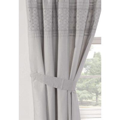 Rapport Everdean Pencil Pleat Silver Curtains -66x72 Inches (168x183cm)
