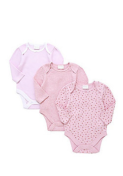 F&F 3 Pack of Long Sleeve Bodysuits - Pink