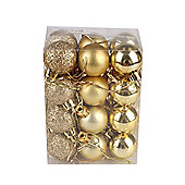 Gold Decorated 3cm Bauble Decorations (Set of 24) by Premier