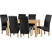 Belgravia Dining Set Natural Oak Veneer with 6 Black PU Leather Dining Chairs