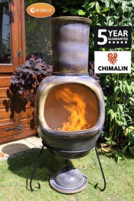 ASTERIA Chimenea, made of CHIMALNI AFC, glazed mottled dark sand brown