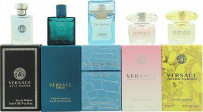 Versace Miniatures Gift Set 5ml Versace Yellow Diamond EDT Splash + 5ml Versace Bright Crystal EDT Splash + 5ml Versace Eau Fraiche EDT Splash + 5ml