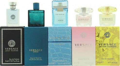 Versace Miniatures Gift Set 5ml Versace Yellow Diamond EDT Splash + 5ml Versace Bright Crystal EDT Splash + 5ml Versace Eau Fraiche EDT Splash + 5ml
