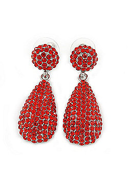 Bridal, Prom, Wedding Pave Bright Red Austrian Crystal Teardrop Earrings In Rhodium Plating - 48mm L