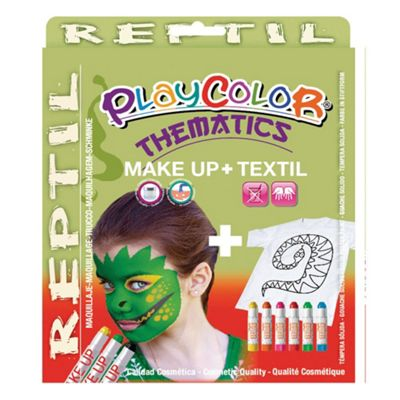 Playcolor Basic Make Up Pocket 5g + Textil One 10g Face Paint Stick (Reptile Set)