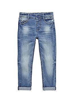 F&F Slim Fit Turn-Up Jeans - Blue