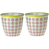 Patterned Plant Pot. Porcelain Indoor / Outdoor Flower Pot - Red / Yellow Swirl Design - Box of 2