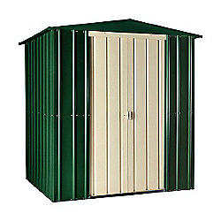 Store More Heritage Green Lotus Metal Apex Shed, 6x4ft
