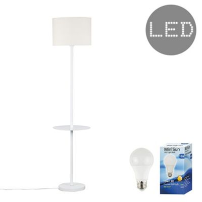 Steward Single Stem LED Floor Lamp with Coffee Table - White & Cream