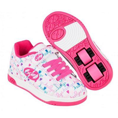 Heelys Dual Up White/Pink/Multi Kids Heely X2 Shoe JNR 12