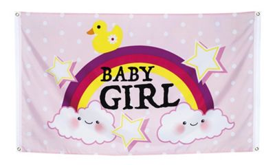 Boland Baby Shower Baby Girl Pink Flag With Rainbow & Clouds 150cm x 90cm