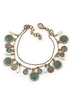 Vintage Inspired Double Chain Charm Bracelet In Antique Gold Metal (Green) - 16cm Length/ 3cm Extension