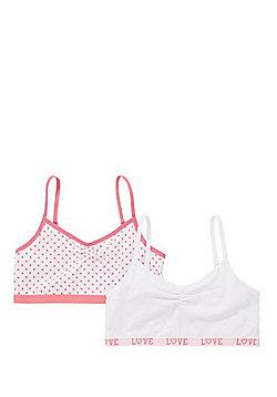 F&F 2 Pack of Polka Dot and Plain Crop Tops - White