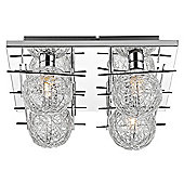 Modern Polished Chrome Square Ceiling Light with Wire Mesh Shades