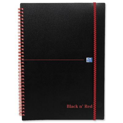 Black n Red Wirebound Elasticated Notebook A4 Polypropylene 140 Pages Feint Recycled 846350973 (5 Pack)