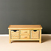 London Oak Coffee Table with Baskets - Lacquer Finish