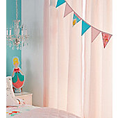 Pink Patterned Curtains and Single Fitted Sheet Set, 100% Cotton