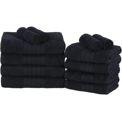Luxury 100% Cotton 12 Piece Face Hand Bath Jumbo Towels Set - Black