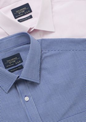 F&F 2 Pack of Easy Care Regular Fit Long Sleeve Shirts Pink/Blue 15.5