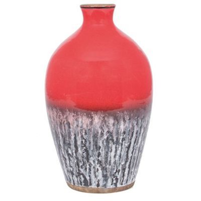 Decorative Red Ceramic Vase Volcanic Effect (300x180x180) Unique Design