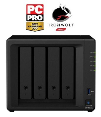 Synology DiskStation DS418play/4TB-IW 4-Bay 4TB(4x1TB Seagate IronWolf) multimedia-enhanced personal cloud solution