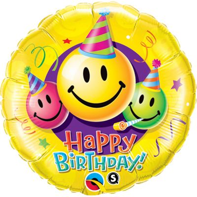 Birthday Smiley Faces Balloon - 36 inch Foil