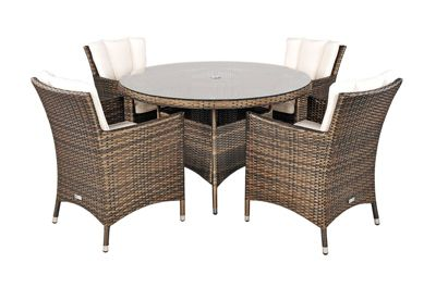 savannah rattan garden furniture 4 seat round glass top table dining set with free parasol with - Rattan Garden Furniture Tesco
