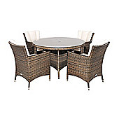 Savannah Rattan Garden Furniture 4 Seat Round Glass Top Table Dining Set with Free Parasol with Base, Dust Cover, Cushions & 1 Yr Warranty