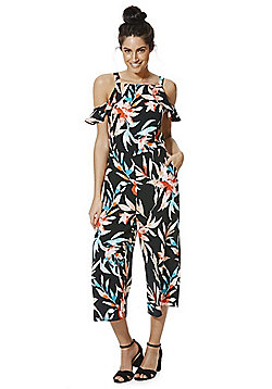 F&F Tropical Leaf Print Cold Shoulder Culotte Jumpsuit - Multi