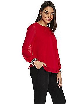 Wallis Petite Embellished Cuff Top - Red