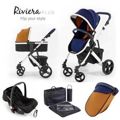 Tutti Bambini Riviera Plus 3 in 1 White Travel System - Midnight Blue / Tan