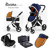 Riviera Plus 3 in 1 White Travel System - Midnight Blue / Tan