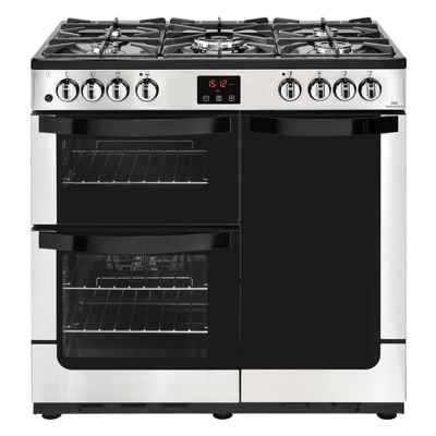 New World VISION 900DFTSS 900mm Dual Fuel Range Cooker inc WOK burner, Stainless Steel
