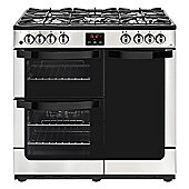 New World VISION 900DFTSS 900mm Dual Fuel Range Cooker inc WOK burner, Stainless Steel