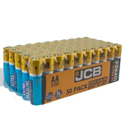 50 x JCB AA LR6 MN1500 Ultra Alkaline AA Batteries - Extra Value Pack